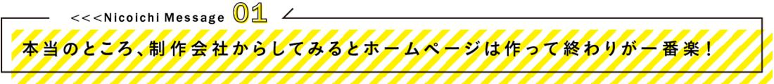 Nicoichi Message01本当のところ、制作会社からしてみるとホームページは作って終わりが一番楽!